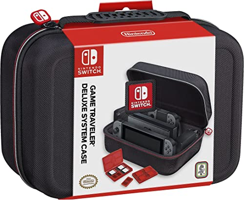 RDS Industries Nintendo Switch System Carrying Case Protective Deluxe Travel System Case Black Ballistic Nylon Exteri...