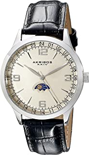 Men's Watch - Simple and Crisp and Clear Dial with Am/Pm Moonphase Indicator On Alligator Pattern Leather Band - AK637