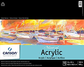 Canson Artist Series Montval Acrylic Pad, Sized Heavyweight No-Buckle Paper, Fold Over, 185 Pound, 16 x 20 Inch, 10 Sheets