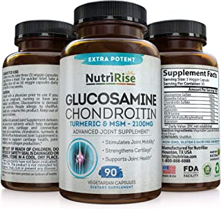 Glucosamine Chondroitin MSM Turmeric 2100mg - 3X Triple Strength Joint Supplement for Men & Women. Supports Pain Relief for Knees, Back, Hips & Inflammation. Gluten-Free & Non-GMO