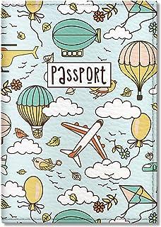 Quttie, Kids Vegan Eco Leather Passport Cover, Passport Holder (Dirigible Pattern)
