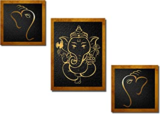 Poylaamo, Set of 3 Ganesh Ji Ganesha Framed Wall Painting for Living Room, Bedroom (8). Total Size 24X12inches.