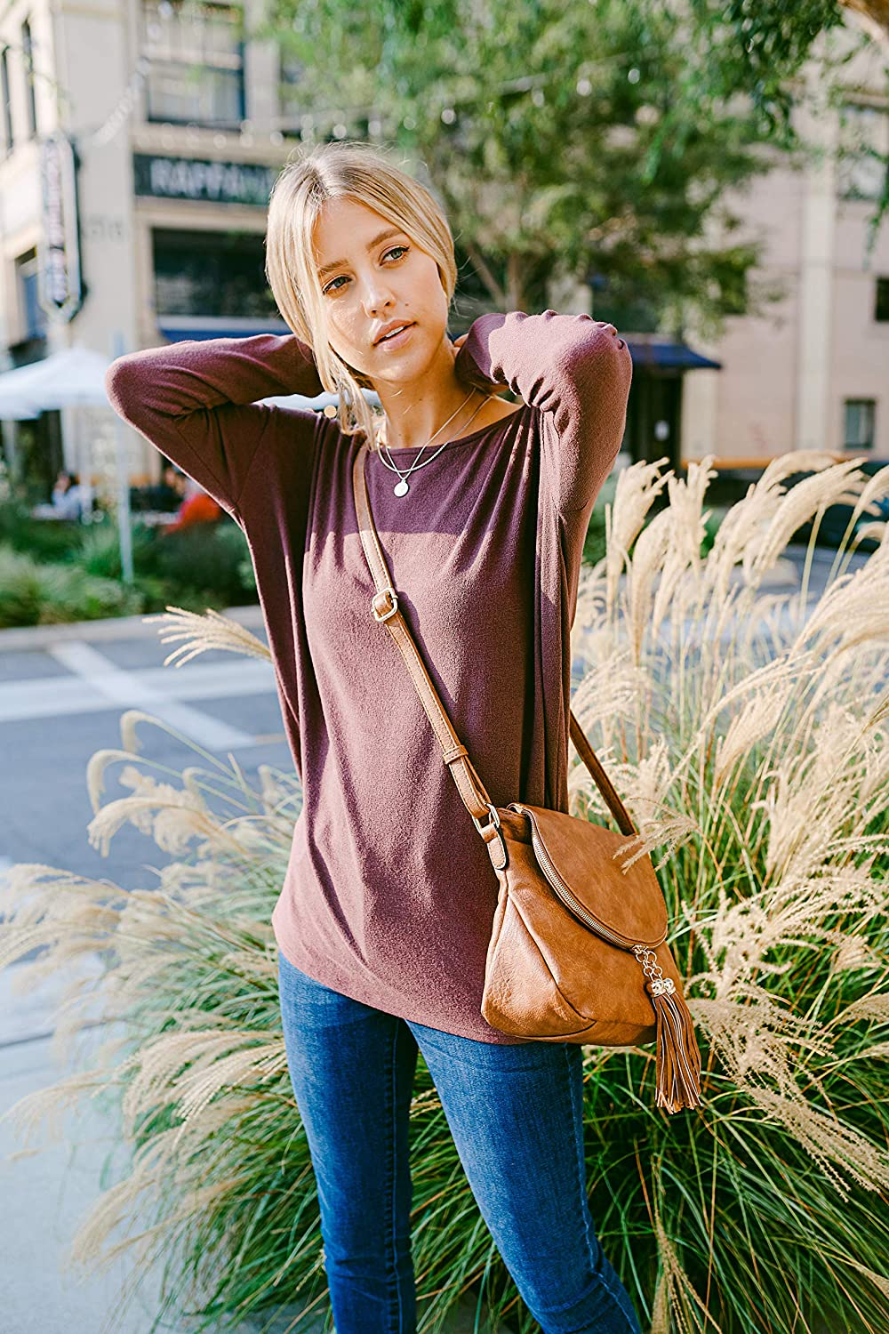 Tassel Accent Crossbody Bag with Flap Top