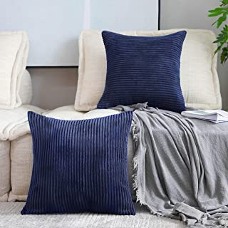 Best Home Brilliant Decor Soft Striped Textured Velvet Corduroy Decorative Toss Throw Pillow Covers Pillowcase Cushion Cover for Chair, Navy Blue, 2 Packs, (45x45 cm, 18inch) Review