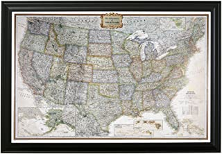 Push Pin Travel Maps Personalized Executive US with Black Frame and Pins - 27.5 inches x 39.5 inches