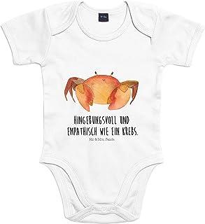 Mr. & Mrs. Panda Strampler, Babysuit, 3-6 Monate Baby Body Sternzeichen Krebs mit Spruch - Farbe Transparent
