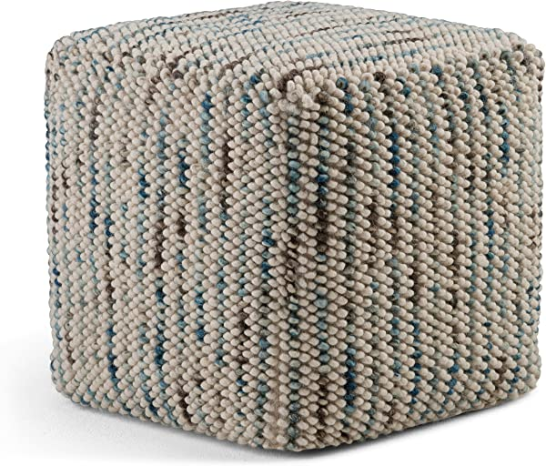 Simpli Home AXCPF 01 Zoey Transitional Cube Woven Pouf In Multi Color Cotton And Wool Fully Assembled