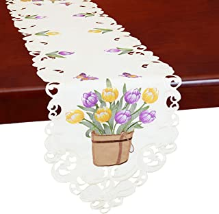 Simhomsen Embroidered Tulip and Butterfly Table Runners, Spring Floral Table Decorations for Easters (13 × 52 Inch)