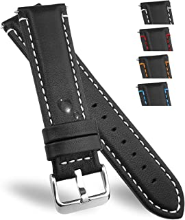 LEATHER WATCH BANDS l WATERPROOF GENUINE BLACK STRAPS FOR MEN AND WOMAN
