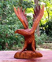 """G6 COLLECTION Large 16"""" Hand Carved Flying Wooden Eagle Statue Figurine Handmade Sculpture Art Decorative Home Decor Accen..."""