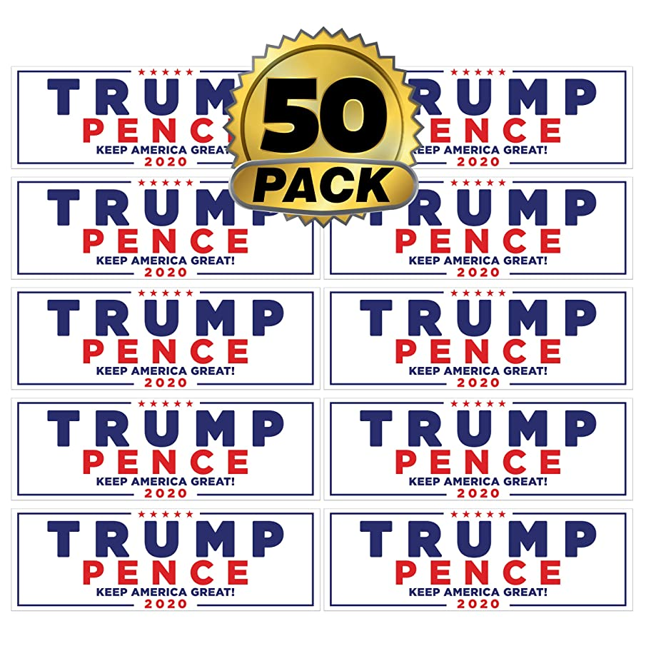 Go Party USA Trump 2020 Stickers 50 Pack | Keep America Great Trump Bumper Stickers | President Donald Trump Bumper Stickers for Cars | Trump Window Decal Gifts | Trump 2020