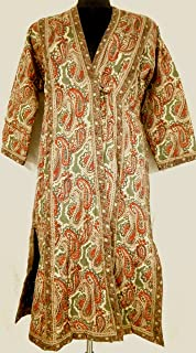 Celadon Sepia & Terracotta Paisley Anokhi Hand block print Quilted Indian Cotton Mughal style Coat Robe One Size