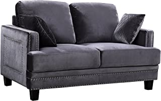 Meridian Furniture Ferrara Velvet Upholstered Loveseat with Square Arms, Silver Nailhead Trim, and Custom Solid Wood Legs, Grey
