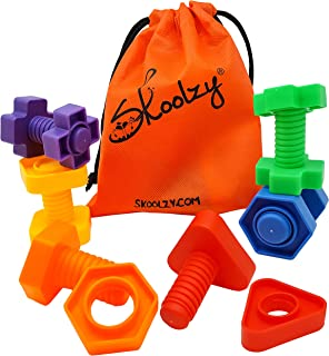 Skoolzy Jumbo Nuts and Bolts Toddler Toys Montessori Toys Building Construction Set | 12 pc Occupational Therapy Tools Mat...