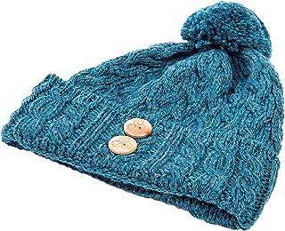 Aran Woollen Mills Ladies Winter Hat - Super Soft 100% Merino Wool -Warm Beanie with Buttons