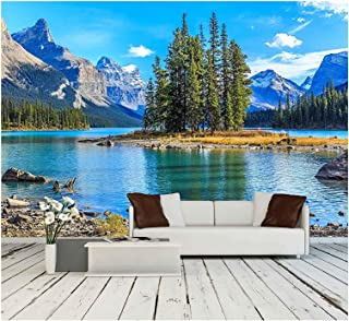 wall26 - Spirit Island in Maligne Lake - Removable Wall Mural | Self-Adhesive Large Wallpaper - 66x96 inches