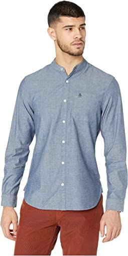 Long Sleeve Collarless Chambray Shirt