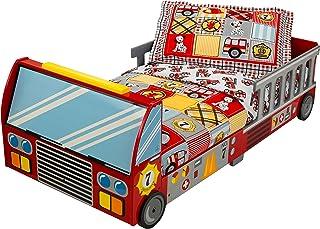 KidKraft 76031 Cama infantil con diseño camión de bomberos con marco de madera, muebles para dormitorio de niños