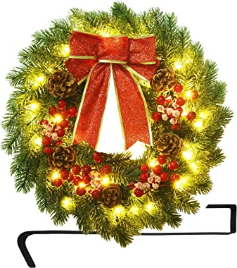 ATDAWN 16 Inch Christmas Wreath, Outdoor Lighted Christmas Wreath for Front Door, Xmas Wreath for Holiday Christmas Party Dec