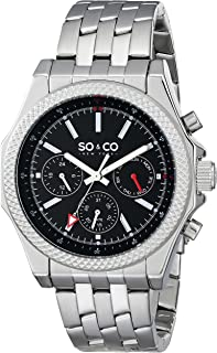 So & Co New York Soho Men's 5003.1 Quartz Watch With Black Dial Analogue Display and Silver Stainless Steel Bracelet