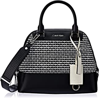 Calvin Klein Clara Stucco Leather Key Item Dome Satchel