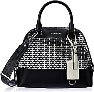 Calvin Klein womens Calvin Klein Clara Stucco Leather Key Item Dome Satchel
