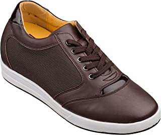 TOTO A53271-3.2 inches Taller - Size 10 D US - Height Increasing Elevator Shoes (Brown Leather and Mesh Lace up Campus Shoes)