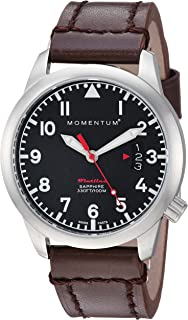 Momentum Women's 'Flatline 36' Quartz Stainless Steel and Leather Casual Watch, Color:Brown (Model: 1M-SP19BS3C)