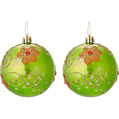 Perfect Holiday Handpainted 2 Piece Shatterproof Christmas Ornaments 3 14 Inch Apple Green Ball With Flowers And Acrylic Diamond Home Kitchen