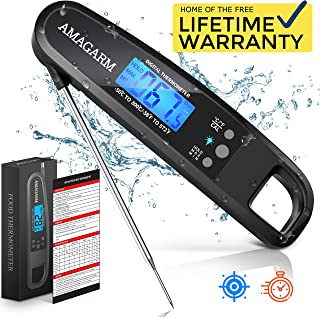 Upgraded 2019 Version Digital Meat Thermometer for Grill and Cooking, 2S Best Super Fast Instant Read Waterproof Kitchen Thermometer Probe for Food, Candy, Liquids, Grilling, Beef, Bread, Cakes, BBQ