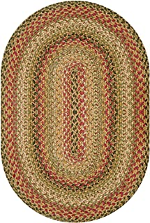 Kingston Premium Jute Braided Area Rug by Homespice, 8` x 10` Oval Multi Color, Reversible, Natural Jute Yarn Rustic, Coun...