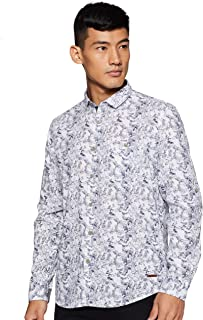 CHEROKEE Men's Printed Regular fit Casual Shirt (400018073261_Grey M)