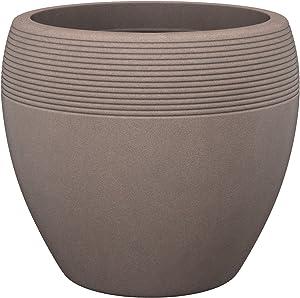 Scheurich Lineo, Pflanzgefäß aus Kunststoff, Taupe-Granit, 48 cm Durchmesser, 39 cm hoch, 50 l Vol.