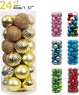 Valery Madelyn 24ct 40mm Essential Gold Basic Ball Shatterproof Christmas Ball Ornaments Decoration,Themed with Tree Skirt(Not Included)