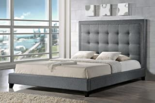 Baxton Studio BBT6377-Grey-King Hirst Platform Bed, King, Grey