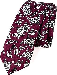 Men's Floral Print Cotton Skinny Tie