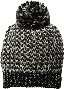 KNH3604 Metallic Yarn Beanie with Pom