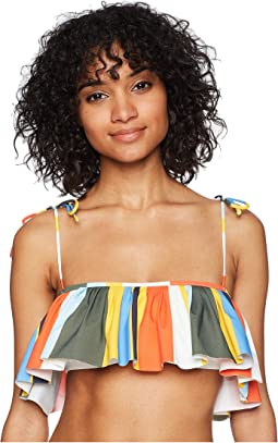 Balloon Stripe Flounce Top