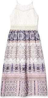 Amy Byer Girls' Big High Neck Lace Detail Maxi Dress