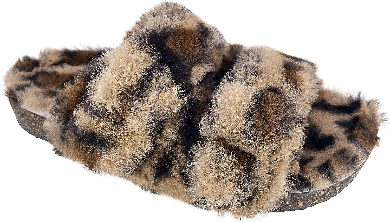Leopard Luxe Faux Fur Two Band Slide Slipper