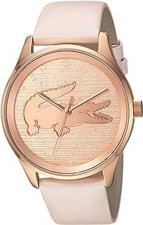 """Lacoste """"Victoria"""" Reloj casual de cuarzo, acero inoxidable y cuero para mujer, color: rosado (modelo: 2000997)"""