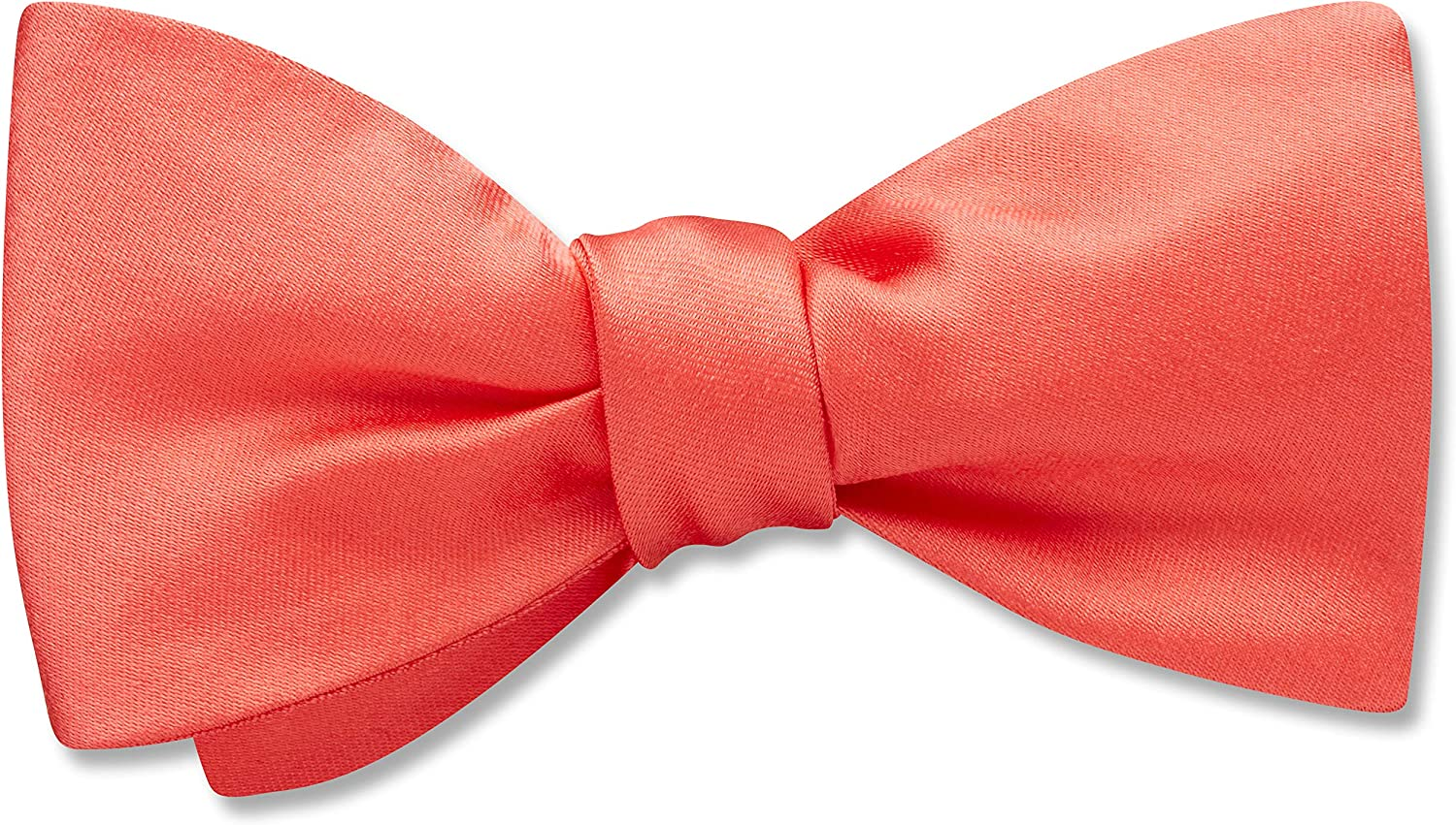 Somerville Coral Orange,Pink Solid, Men's Bow Tie, Handmade in the USA