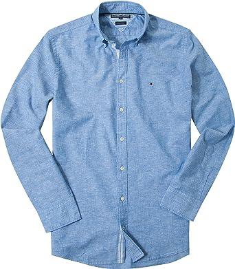 Tommy Hilfiger Camisa de algodón y lino Button Down Azul ...