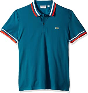 Lacoste Men's S/S Techinical Pique Stripes on Collar Polo Regular Fit