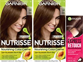 Garnier Nutrisse and Express Retouch Kit, Medium Natural Brown, Light Brown, 3 count