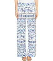 Nally & Millie - Printed Blue Border Pants