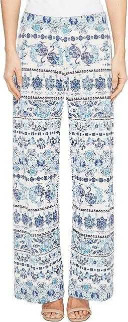 Printed Blue Border Pants