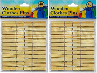 DecorRack Wooden Clothespins, Natural Wood Clothes Pegs, Arts and Craft Pins, Snack Clips, Indoor/Outdoor (Set of 96)