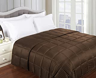 Superior Reversible Down Alternative Polyfill Blanket with Striped Microfiber Shell - King, Chocolate