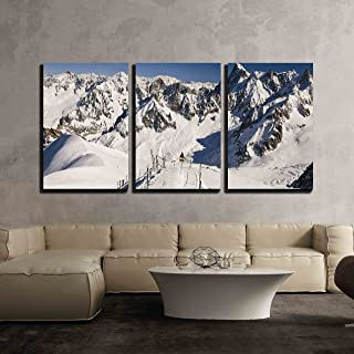 wall26 - 3 Piece Canvas Wall Art - Entrance to The Vallee Blanche. Massif Mont-Blanc, Aiguille Du Midi. France. - Modern Home Decor Stretched and Framed Ready to Hang - 16